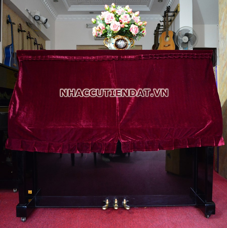 Khăn phủ đàn Piano nhung đỏ xếp ly - UC01