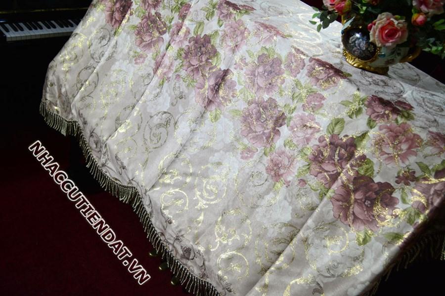 Khăn phủ đàn Piano họa tiết hoa hồng - UC02