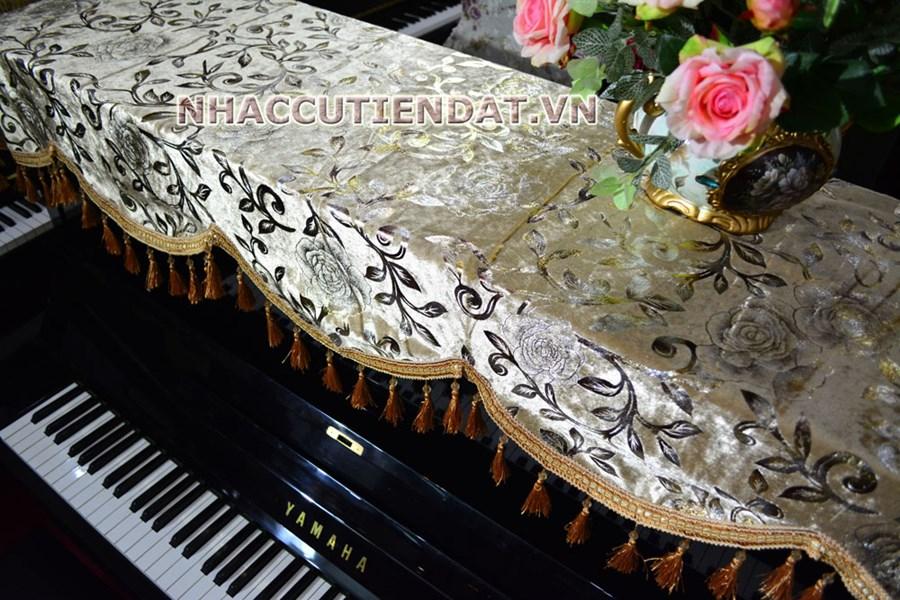 Khăn phủ đàn Piano vàng thêu hoa - U102
