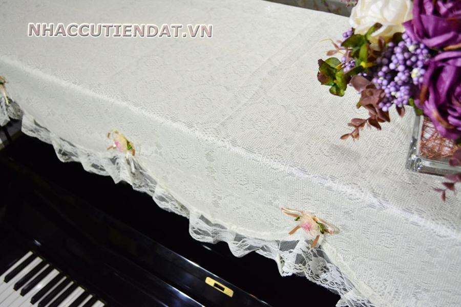 Khăn phủ đàn Piano ren hoa hồng trắng - U107