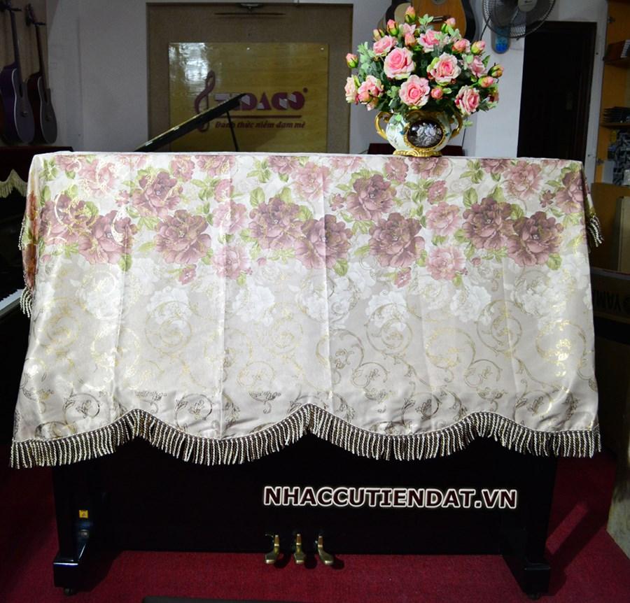 Khăn phủ đàn Piano họa tiết hoa hồng