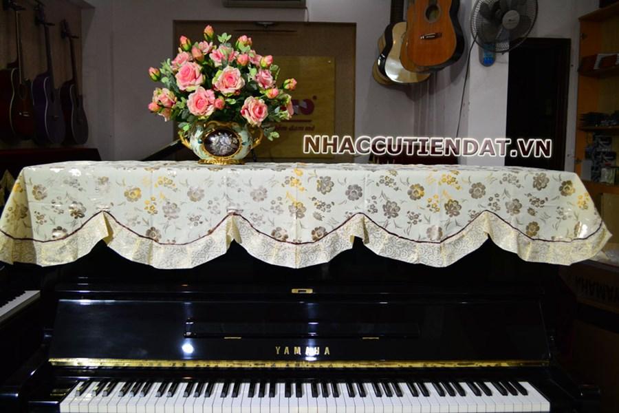 Khăn phủ đàn Piano hoa vàng nhỏ ánh bạc - U103